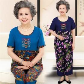 中老年女装夏季民族花色短袖上衣裤子棉稠套装