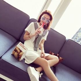 夏季条纹女装短袖宽松中长款女连衣裙A字裙潮