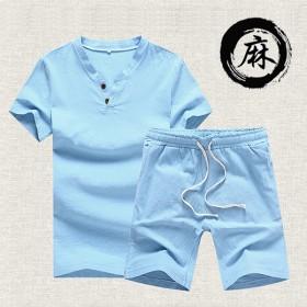 夏季新款亚麻短袖套装-LYP
