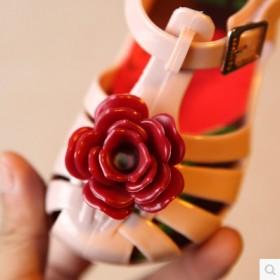 新款minised王子花朵果冻鞋玫瑰花魔术贴凉鞋包