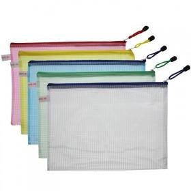 文件袋A4拉链袋网格袋加厚防水资料收纳袋