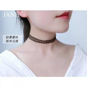 脖颈饰品黑色蕾丝锁骨链女颈带简约百搭项圈短款颈链韩