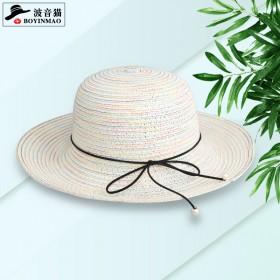太阳帽女沙滩遮阳帽珍珠蝴蝶结甜美出游逛街防晒帽草编
