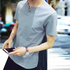 海澜T恤 优质植面料 v领修身纯色纯棉潮流丅恤