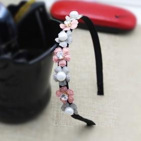 手工原创韩国风可爱发箍女珍珠锆石水钻头箍新发饰品