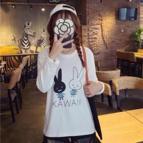 春季卡通女长袖t恤新款韩版学生宽松圆领显瘦印花