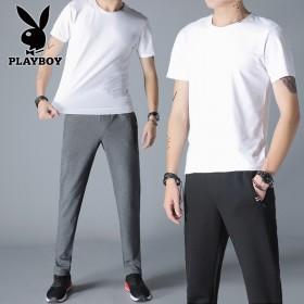 花花公子运动休闲套装男士纯棉短袖T恤长裤晨跑两件套