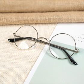 小圆形眼镜框女韩版潮复古简约个性近视男金属平光眼睛