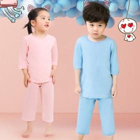 儿童睡衣女夏套装宝宝男童女孩中袖五分袖纯棉内衣家居