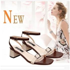 女款凉鞋201新款时尚百搭韩版中跟露趾粗跟扣带女鞋