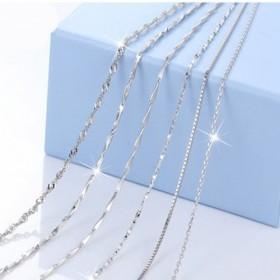 S925纯银项链链子女锁骨链蛇骨链瓜子链无配饰颈链