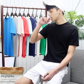 夏季男士莫代尔丝光棉纯色短袖t恤