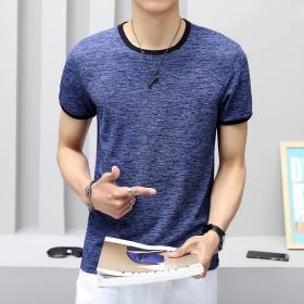 夏季新款男士短袖冰丝T恤纯色修身弹力打底衫