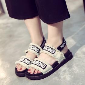 夏天凉鞋学生女韩版平底简约学院原宿凉鞋女软底布面