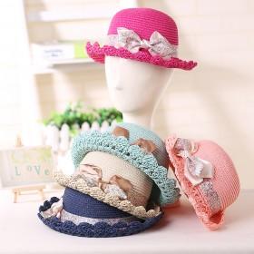 儿童遮阳帽女童草帽2-4岁宝宝夏天出游防晒太阳帽