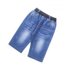 男童中裤夏季儿童牛仔裤中大童绣花口袋休闲牛仔七分裤