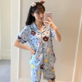 夏季韩版少女小熊睡衣套装家居服