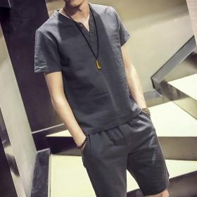 青少年亚麻男装套装