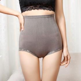 内裤女蕾丝提臀翘臀裤日本塑身夏季收腹收胃黑色三角裤