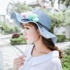草帽女夏天小清新花朵遮脸防晒遮阳帽休闲海边沙滩帽可