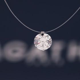 纯银透明鱼线项链女锁骨链隐形锆石人鱼眼泪吊坠