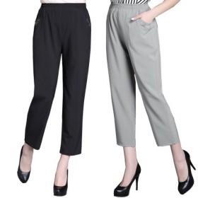 夏季中老年女裤薄款纯色九分裤妈妈装宽松直筒松紧腰大