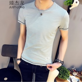臻杰龙夏季韩版个性潮流男修身短袖T恤棉男半袖体恤