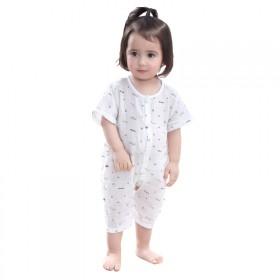 婴儿纱布连体衣0-3个月纯棉新生儿衣服夏季薄款宝宝