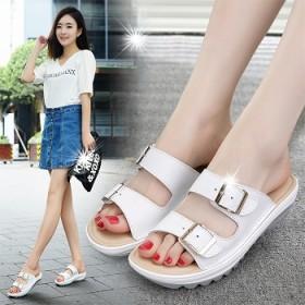 2017夏季新款韩版时尚休闲真皮厚底女拖鞋坡跟韩版