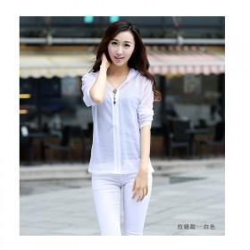时尚新款夏季薄款宽松开衫V领中长款衣长袖外套糖果色