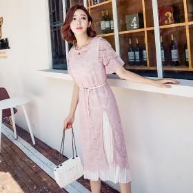 夏季两件套蕾丝套装裙女圆领宽松显瘦气质收腰中长款仙