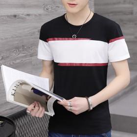 男士短袖t恤修身V领上衣圆领男装大码半袖夏季短衫