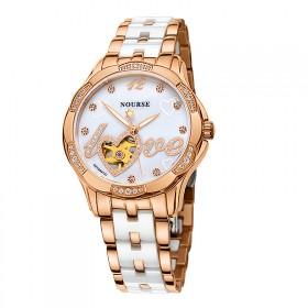 圣诺威皮带女表机械表全自动防水夜光白色陶瓷女士手表