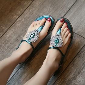 平底夹趾波西米亚水钻夹脚平跟舒适凉鞋女
