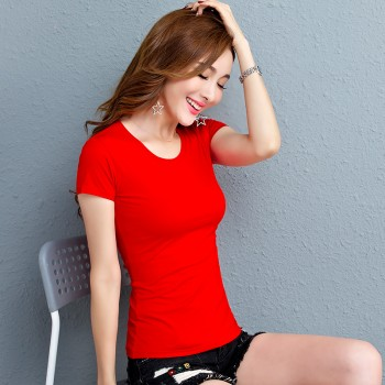 夏季简约T恤女装短袖韩范卡通体恤打底衫女上衣韩版女