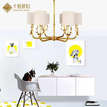 美式全铜吊灯客厅创意个性鹿角灯卧室书房餐厅灯北欧灯