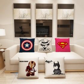 40CM 动漫卡通超级英雄棉麻抱枕