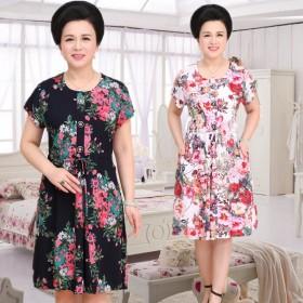 中老年女装夏季新款短袖棉绸连衣裙妈妈装加大码凉爽中