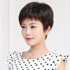 假发女短发短卷发中老年妈妈款蓬松时尚整顶碎刘海纹理