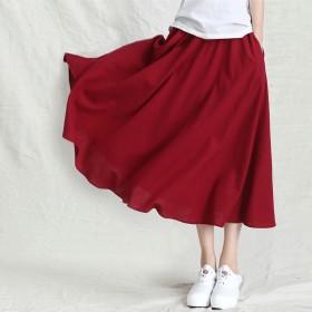 韩版亚麻裙棉麻长裙新品复古半身裙清新大摆长裙子