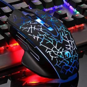 新盟机械狂蛇电竞游戏cf网吧发光鼠标台式电脑USB