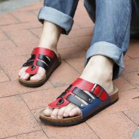 夏季软木一字拖鞋勃肯鞋沙滩鞋人字软木鞋情侣鞋男女款