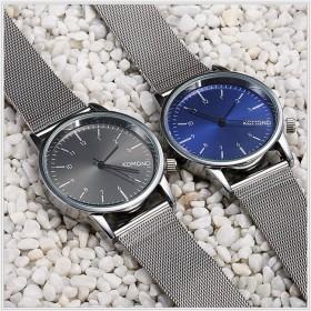新品手表男女式中性新款防水石英表银丝网带手表时尚