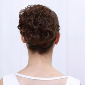 韩国假发女盘发毛毛虫小丸子头大花苞盘头蓬松发圈发包