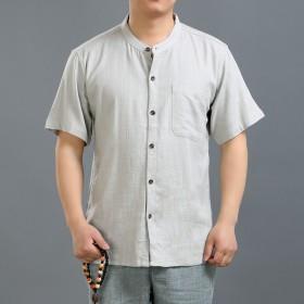 亚麻开衫无领衬衫男口袋宽松男士大码棉麻短袖