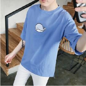 男夏季圆领短袖T恤韩版潮流宽松学生纯棉上衣简约纯色