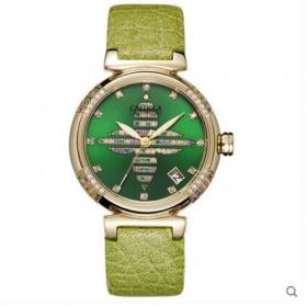 卡罗莱女表时尚机械手表四叶草镶钻防水真皮带女士腕表