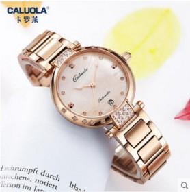 卡罗莱女表新款女士时尚机械女表潮流镶钻钢带防水腕表