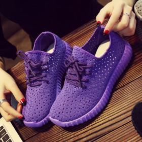 夏季学生跑步鞋韩版镂空网面休闲单鞋平底百搭女鞋
