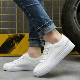 夏季新款平底系带小白鞋韩版休闲运动鞋白色皮鞋百搭板
